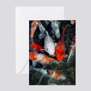 Koi carp in a pond Greeting Card