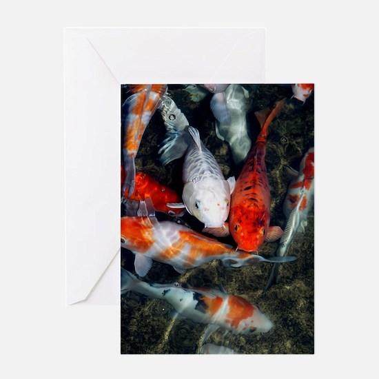 Koi carp in a pond Greeting Card