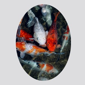 Koi carp in a pond Oval Ornament