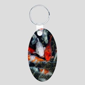 Koi carp in a pond Aluminum Oval Keychain