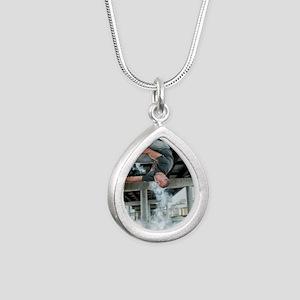 AUPK Wall Spin Silver Teardrop Necklace