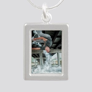 AUPK Wall Spin Silver Portrait Necklace