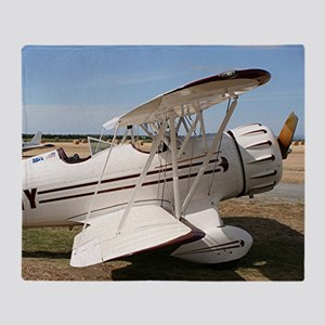 White & brown biplane Throw Blanket