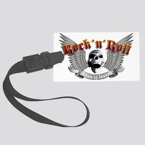 rock skull e-guitar tribal wings Large Luggage Tag