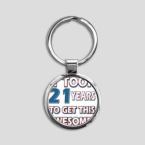 21 year old birthday designs Round Keychain