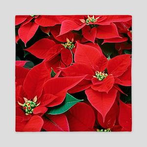 Christmas Poinsettias Queen Duvet