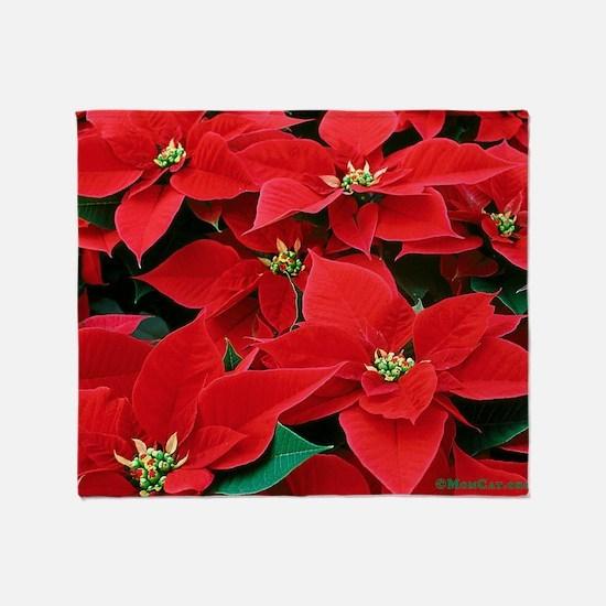 Christmas Poinsettias Throw Blanket