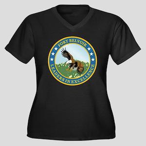 Fort Belvoir Women's Plus Size Dark V-Neck T-Shirt