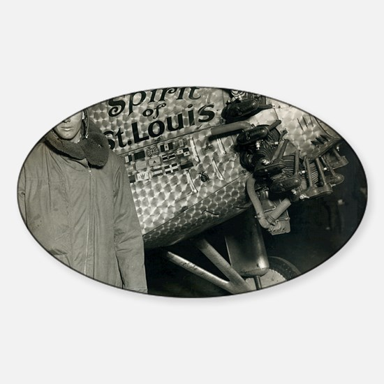 Lindbergh with his airplane, 1928 Sticker (Oval)