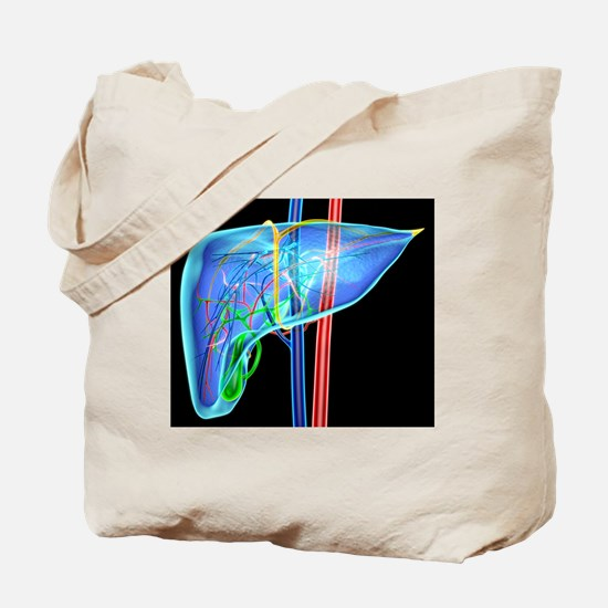 Human liver, artwork Tote Bag