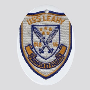 uss leahy dlg patch transparent Oval Ornament