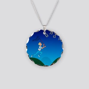 Abstract artwork of a dyslex Necklace Circle Charm