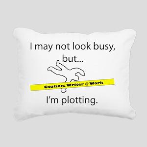 Beware: Plotting Writer Rectangular Canvas Pillow