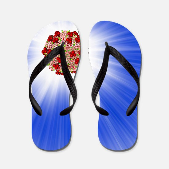 AIDS virus particle, computer artwork Flip Flops