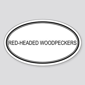 Oval Design: RED-HEADED WOODP Oval Sticker