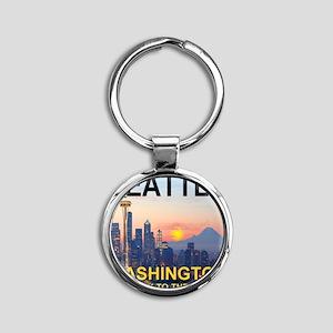 Seattle WA Skyline Graphics Sunset Round Keychain