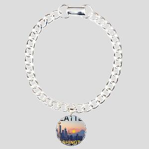 Seattle WA Skyline Graph Charm Bracelet, One Charm