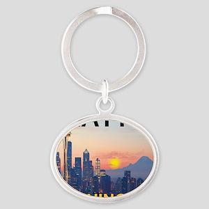 Seattle WA Skyline Graphics Sunset Oval Keychain
