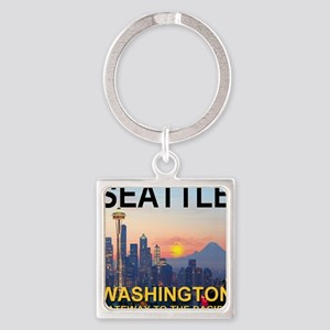 Seattle WA Skyline Graphics Sunset Square Keychain