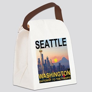 Seattle WA Skyline Graphics Sunse Canvas Lunch Bag