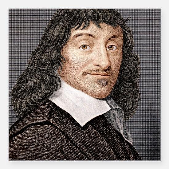 "Rene Descartes, French m Square Car Magnet 3"" x 3"""