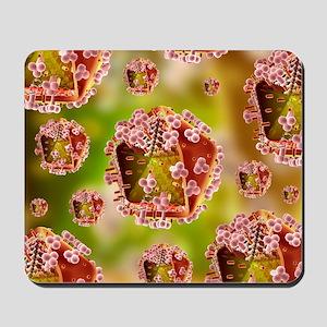 AIDS virus particles, computer artwork Mousepad