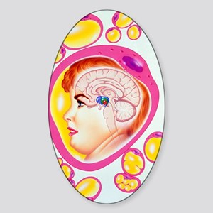 Abstract artwork of obesity: brain  Sticker (Oval)