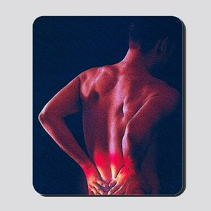Artwork of man holding his lower back in Mousepad