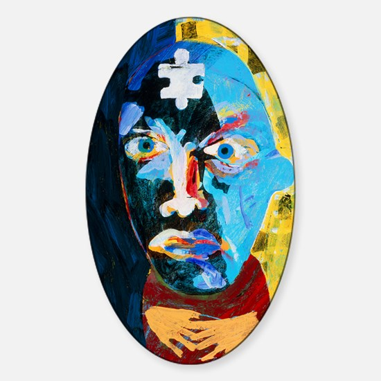 Abstract artwork of man depicting m Sticker (Oval)