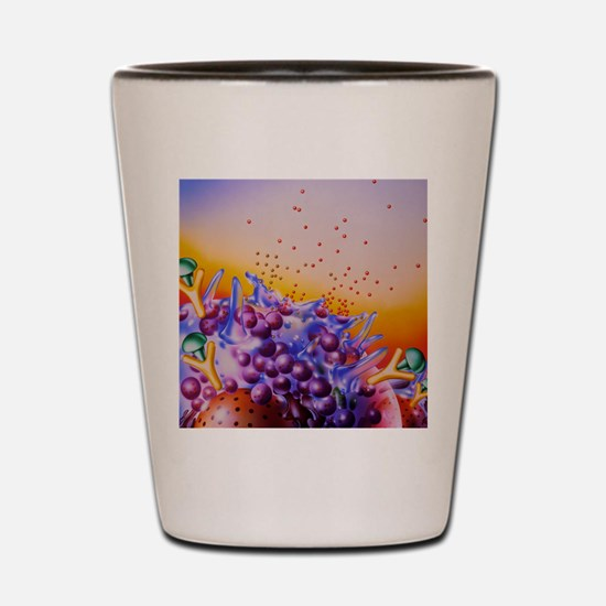Artwork of mast cells in an allergic re Shot Glass