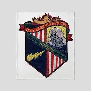 uss leonard f. mason patch transpare Throw Blanket