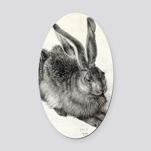 Young hare, by Durer Oval Car Magnet
