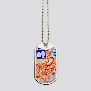 Artwork of human intestines and colostomy Dog Tags
