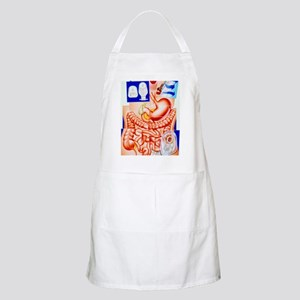Artwork of human intestines and colostomy Apron