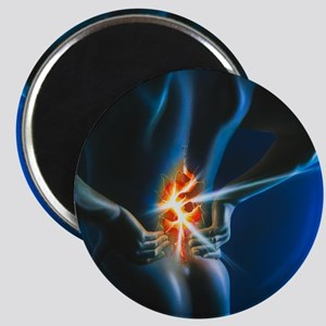 Artwork of man holding his lower back in pa Magnet
