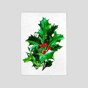 Christmas Holly 2 5'x7'Area Rug