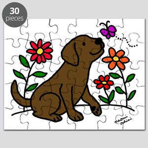 Chocolate Labrador and Green Puzzle
