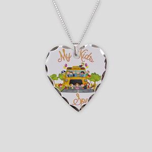 School bus driver Necklace Heart Charm