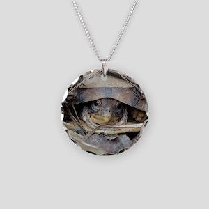 Camo Turtle Necklace Circle Charm