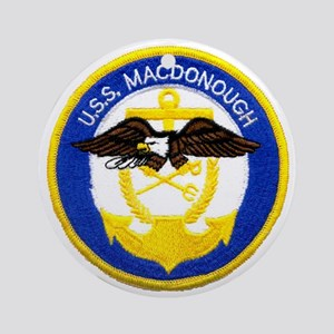 uss macdonough patch transparent Round Ornament