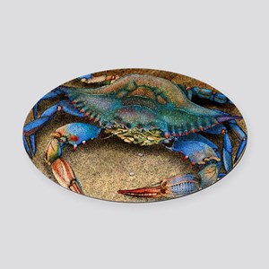 Atlantic Blue Crab Oval Car Magnet