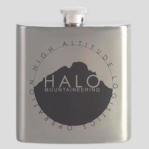 Halo Mountaineering Logo Black Flask
