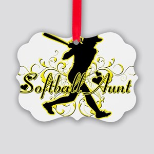 Softball Aunt (silhouette) Picture Ornament
