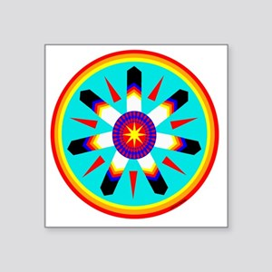 "EAGLE FEATHER MEDALLION Square Sticker 3"" x 3"""