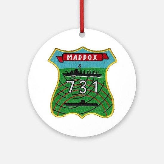 uss maddox patch transparent Round Ornament