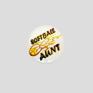Softball Aunt (flame) Mini Button