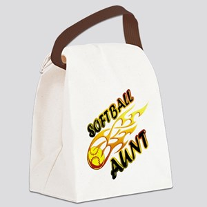 Softball Aunt (flame) Canvas Lunch Bag