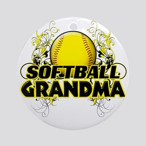 Softball Grandma (cross) Round Ornament