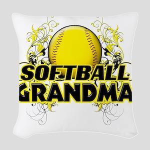 Softball Grandma (cross) Woven Throw Pillow