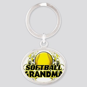 Softball Grandma (cross) Oval Keychain